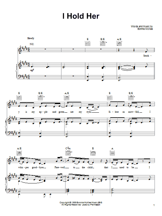 Bonnie McKee I Hold Her sheet music preview music notes and score for Piano, Vocal & Guitar (Right-Hand Melody) including 6 page(s)