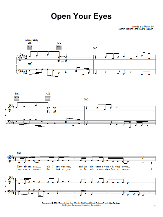 Bonnie McKee Open Your Eyes sheet music preview music notes and score for Piano, Vocal & Guitar (Right-Hand Melody) including 6 page(s)
