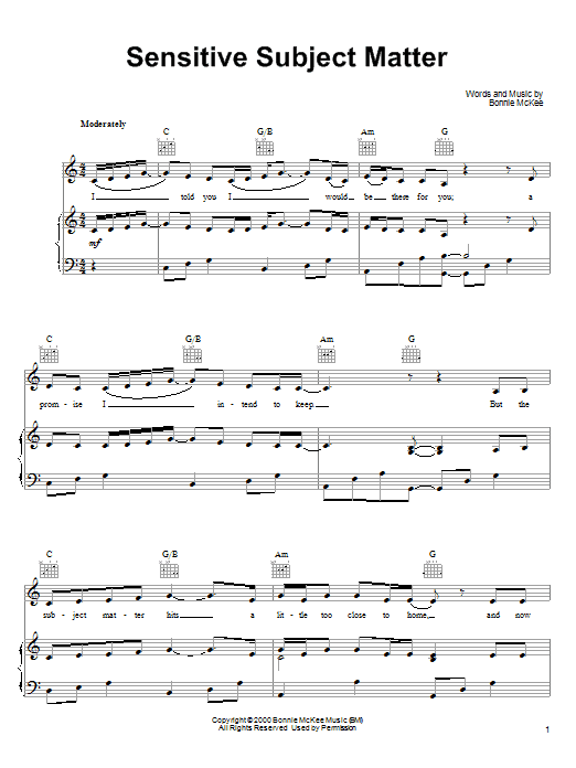 Bonnie McKee Sensitive Subject Matter sheet music notes and chords