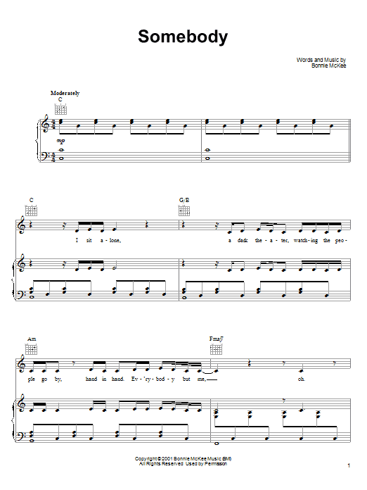 Bonnie McKee Somebody sheet music preview music notes and score for Piano, Vocal & Guitar (Right-Hand Melody) including 9 page(s)