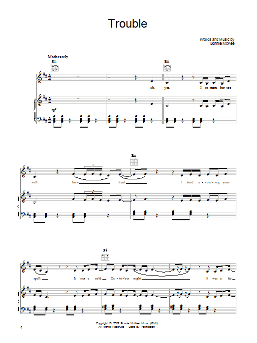 Bonnie McKee Trouble sheet music preview music notes and score for Piano, Vocal & Guitar (Right-Hand Melody) including 7 page(s)