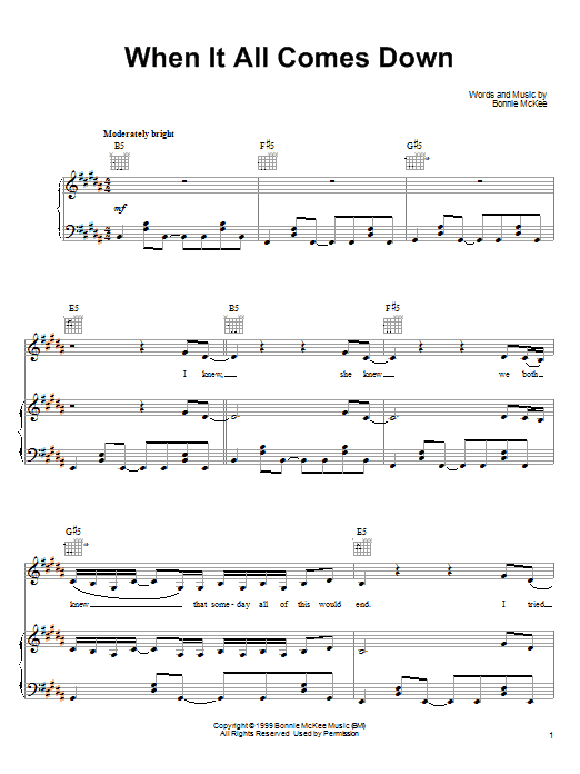 Bonnie McKee When It All Comes Down sheet music preview music notes and score for Piano, Vocal & Guitar (Right-Hand Melody) including 9 page(s)