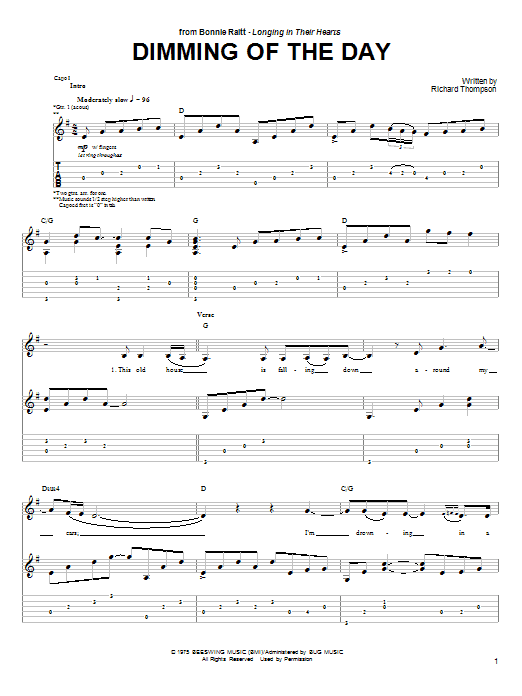 Bonnie Raitt Dimming Of The Day sheet music preview music notes and score for Lyrics & Chords including 2 page(s)