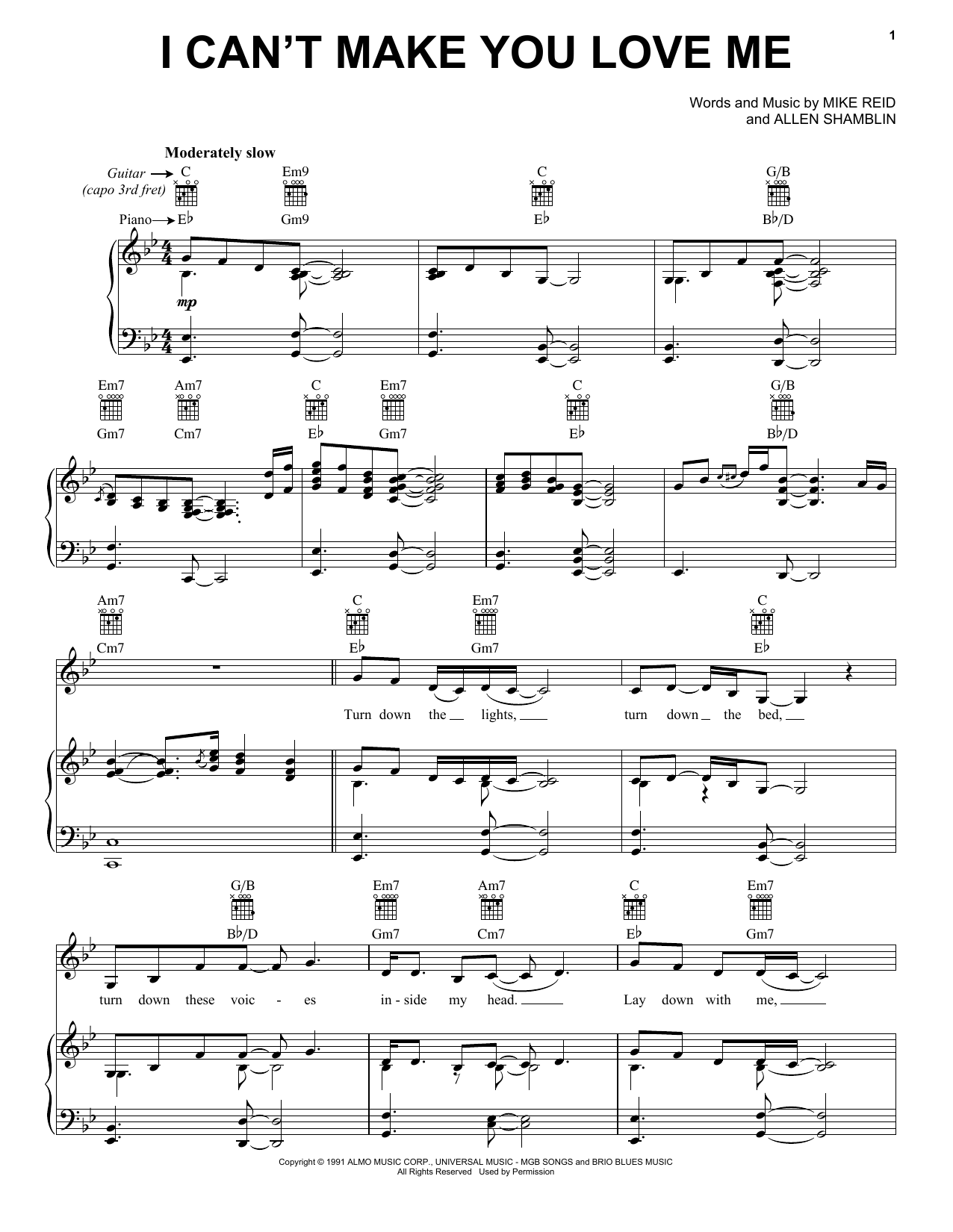 Bonnie Raitt I Can't Make You Love Me sheet music preview music notes and score for Guitar Tab including 3 page(s)