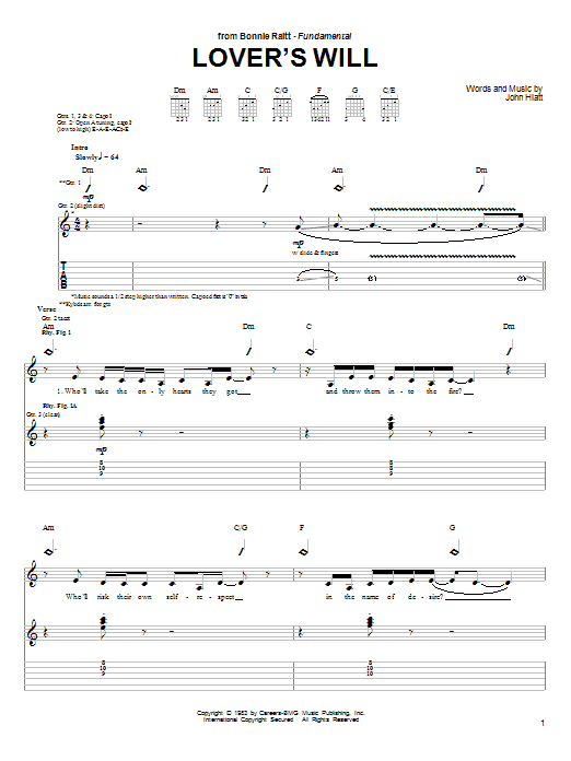 Bonnie Raitt Lover's Will sheet music preview music notes and score for Guitar Tab including 7 page(s)