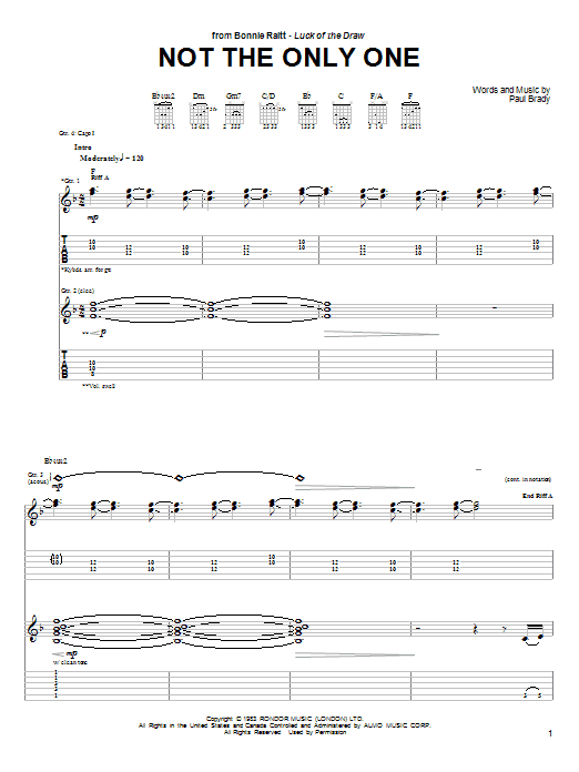 Bonnie Raitt Not The Only One sheet music preview music notes and score for Guitar Tab including 13 page(s)