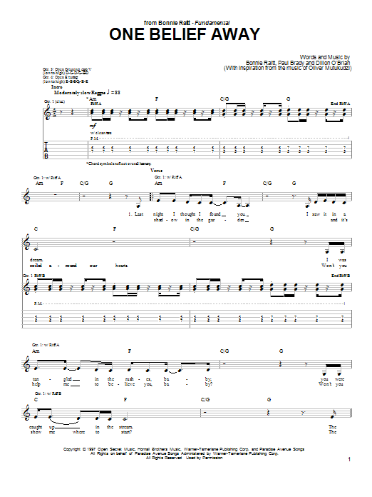 Bonnie Raitt One Belief Away sheet music preview music notes and score for Guitar Tab including 7 page(s)