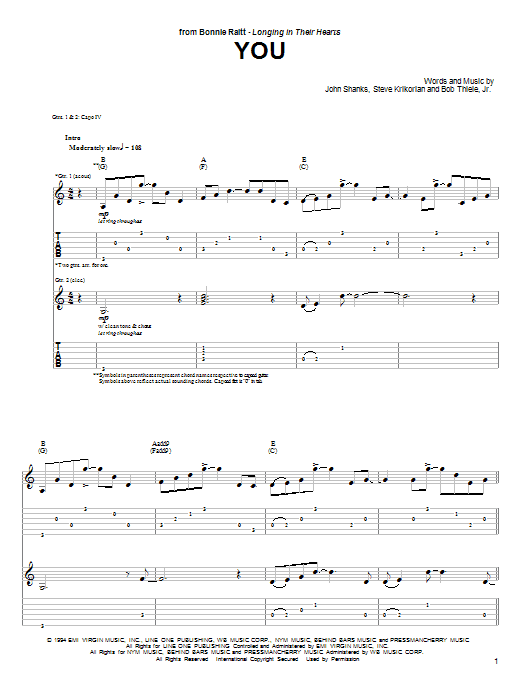 Bonnie Raitt You sheet music preview music notes and score for Guitar Tab including 8 page(s)