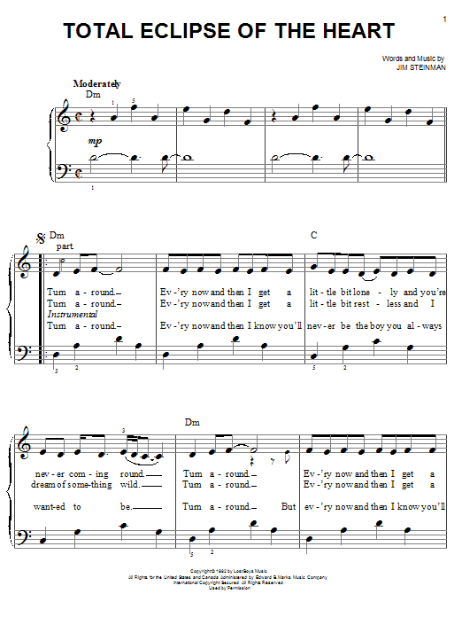 Bonnie Tyler Total Eclipse Of The Heart sheet music notes and chords