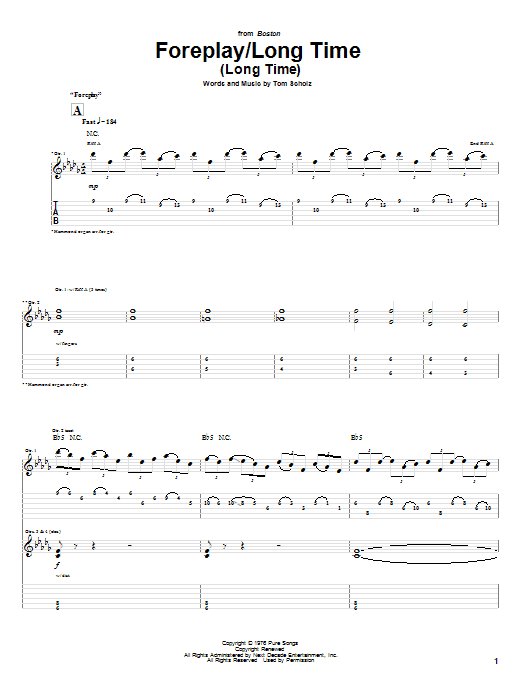 Boston Foreplay/Long Time (Long Time) sheet music preview music notes and score for Bass Guitar Tab including 14 page(s)