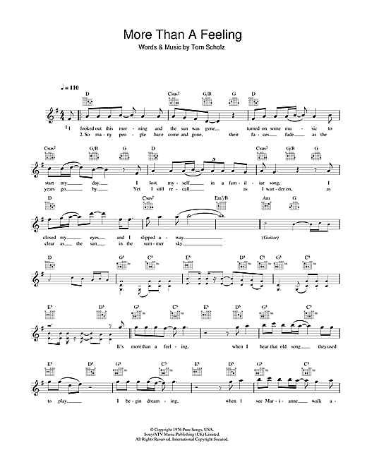 Download Boston 'More Than A Feeling' Digital Sheet Music Notes & Chords and start playing in minutes