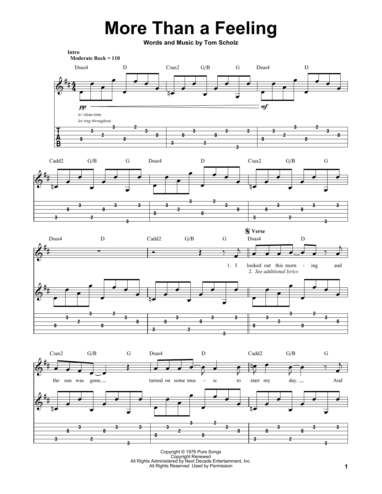 Boston More Than A Feeling sheet music preview music notes and score for Lyrics & Piano Chords including 3 page(s)