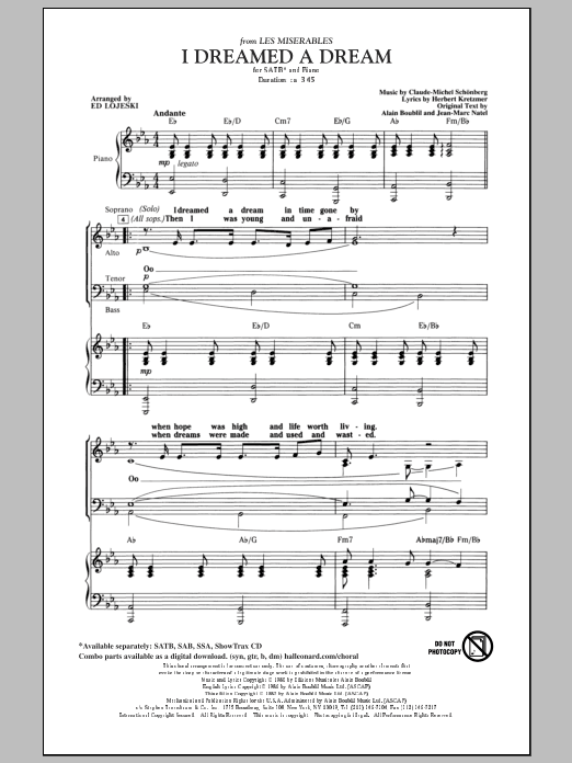 Boublil and Schonberg I Dreamed A Dream (from Les Miserables) (arr. Ed Lojeski) sheet music preview music notes and score for SATB including 8 page(s)