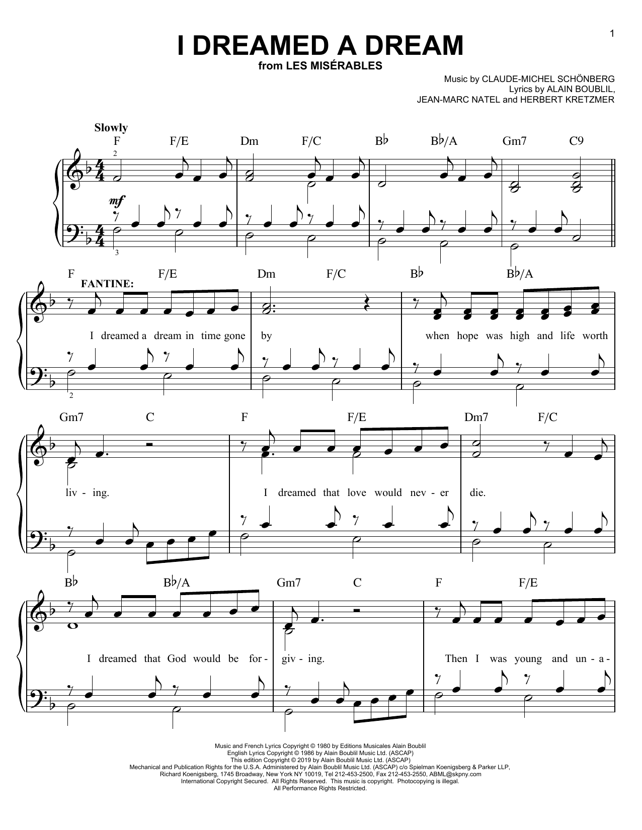 Boublil and Schonberg I Dreamed A Dream sheet music preview music notes and score for Easy Piano including 5 page(s)
