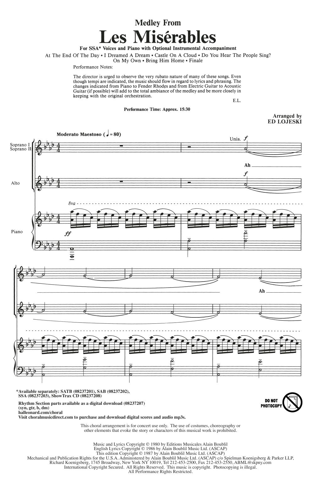 Ed Lojeski Les Miserables (Choral Medley) sheet music notes and chords