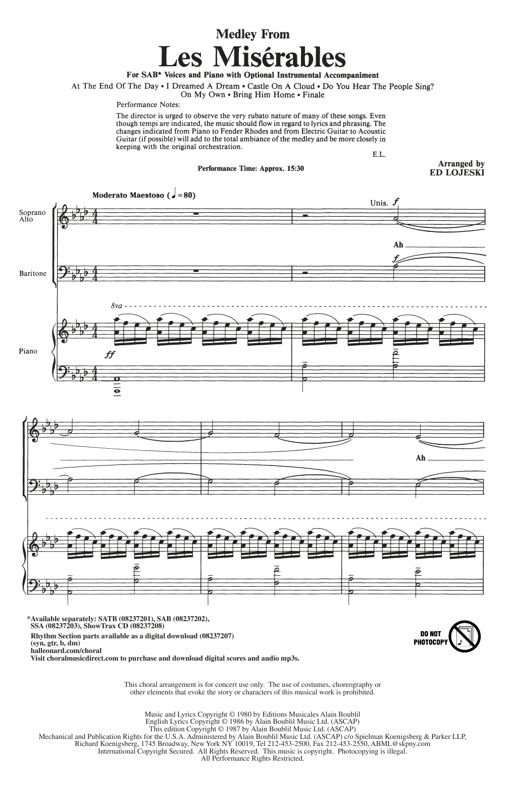 Ed Lojeski Les Miserables (Choral Medley) sheet music notes and chords