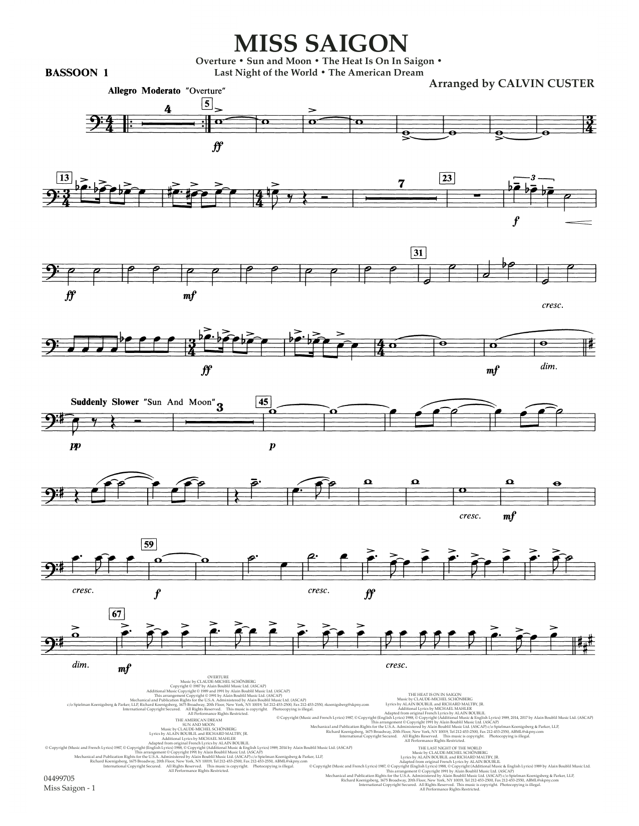 Download Boublil and Schonberg 'Miss Saigon (arr. Calvin Custer) - Bassoon 1' Digital Sheet Music Notes & Chords and start playing in minutes