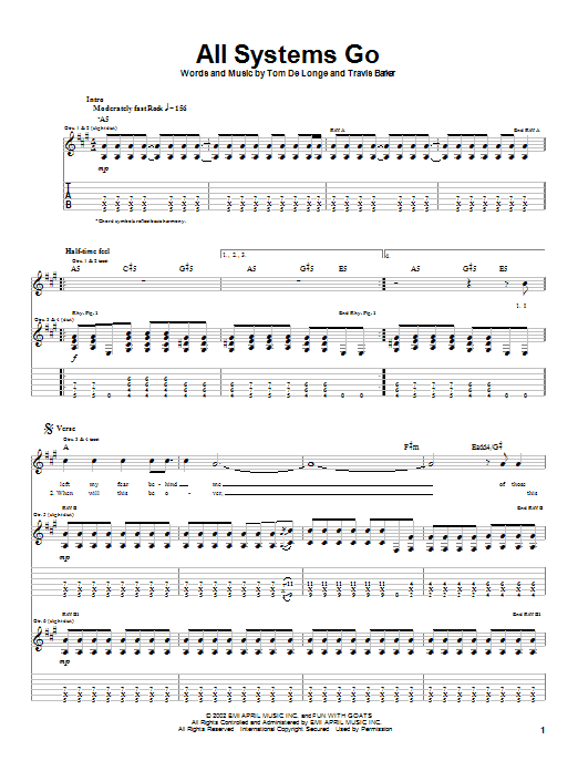 Box Car Racer All Systems Go sheet music notes and chords
