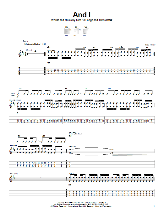 Box Car Racer And I sheet music preview music notes and score for Guitar Tab including 5 page(s)