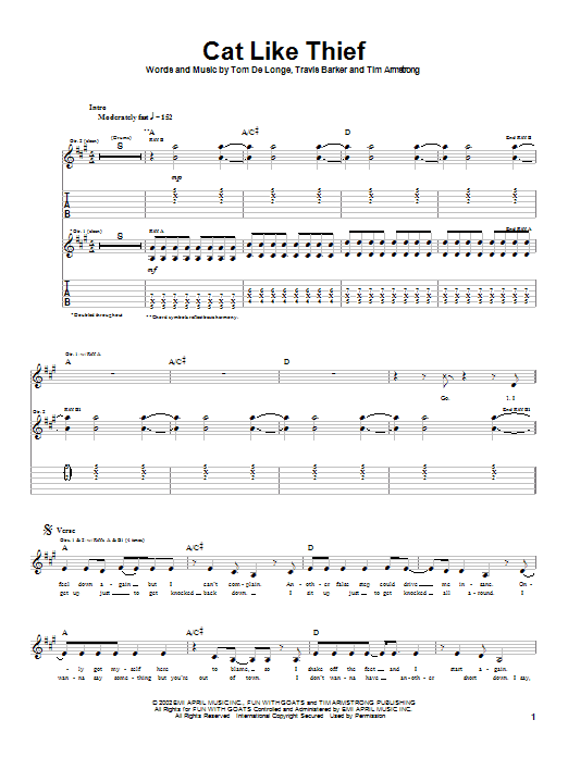 Box Car Racer Cat Like Thief sheet music notes and chords