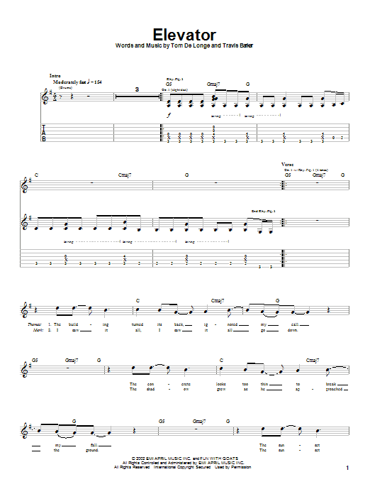 Box Car Racer Elevator sheet music notes and chords