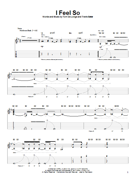 Box Car Racer I Feel So sheet music preview music notes and score for Guitar Tab including 6 page(s)