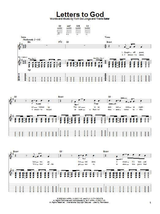 Box Car Racer Letters To God sheet music preview music notes and score for Guitar Tab including 4 page(s)