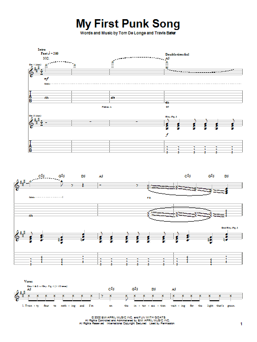 Box Car Racer My First Punk Song sheet music preview music notes and score for Guitar Tab including 3 page(s)