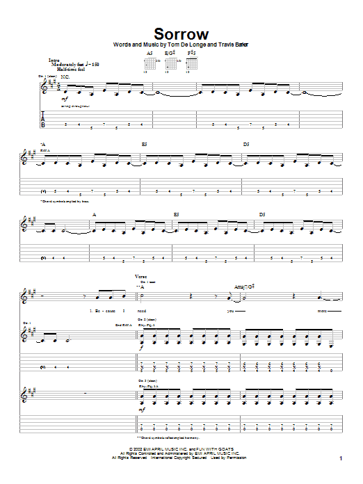Box Car Racer Sorrow sheet music preview music notes and score for Guitar Tab including 6 page(s)