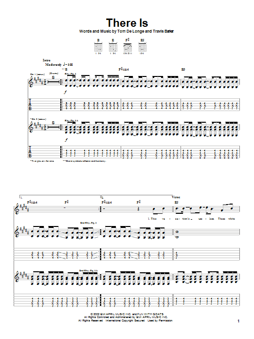 Box Car Racer There Is sheet music notes and chords