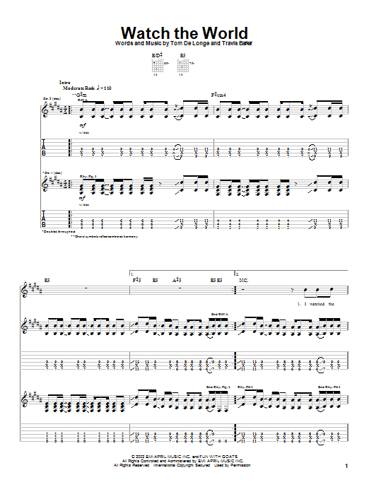 Box Car Racer Watch The World sheet music preview music notes and score for Guitar Tab including 5 page(s)