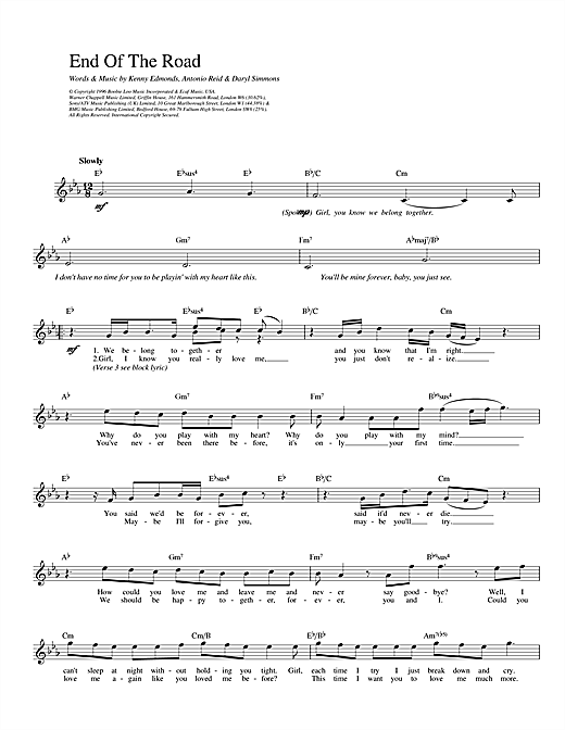 Boyz II Men End Of The Road sheet music notes and chords