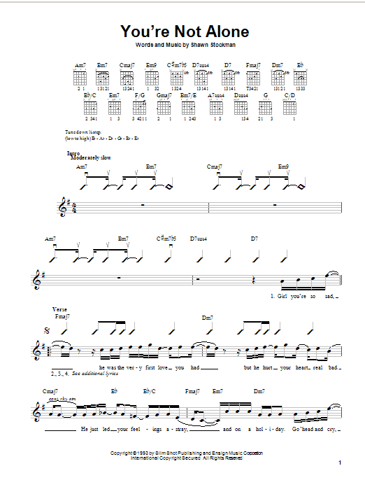 Boyz II Men You're Not Alone sheet music preview music notes and score for Easy Guitar including 3 page(s)