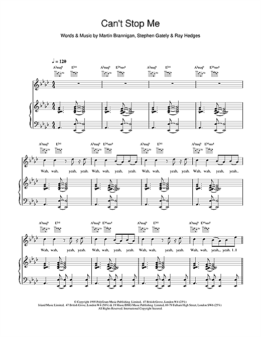 Boyzone Cant Stop Me sheet music notes and chords