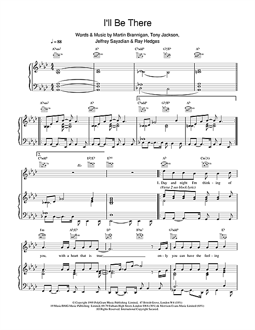Boyzone I'll Be There sheet music notes and chords