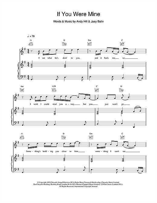 Boyzone If You Were Mine sheet music notes and chords