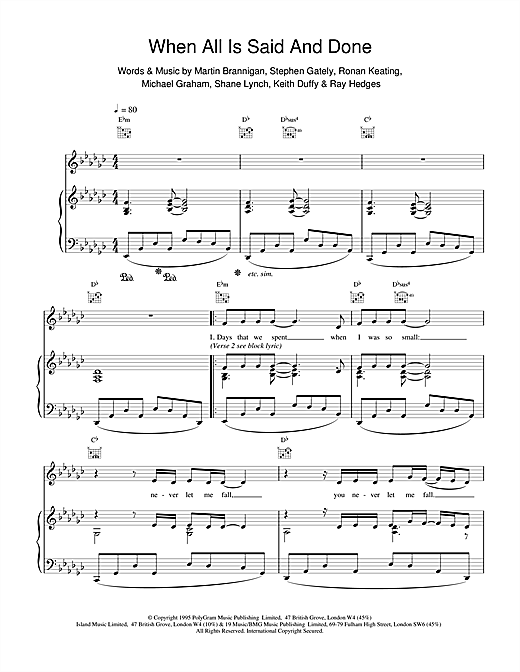 Boyzone When All's Said And Done sheet music notes and chords