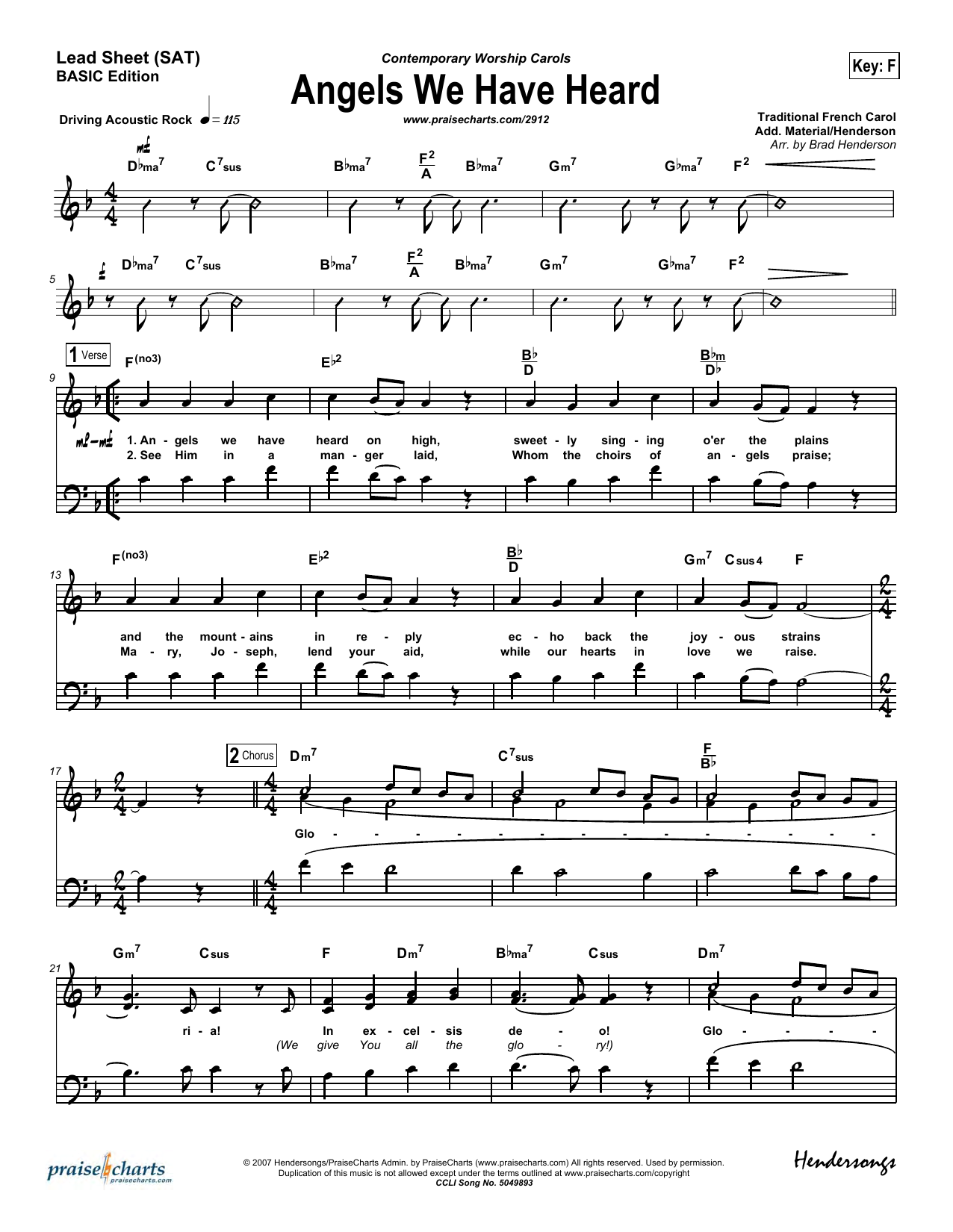 Brad Henderson Angels We Have Heard on High sheet music preview music notes and score for Lead Sheet / Fake Book including 8 page(s)