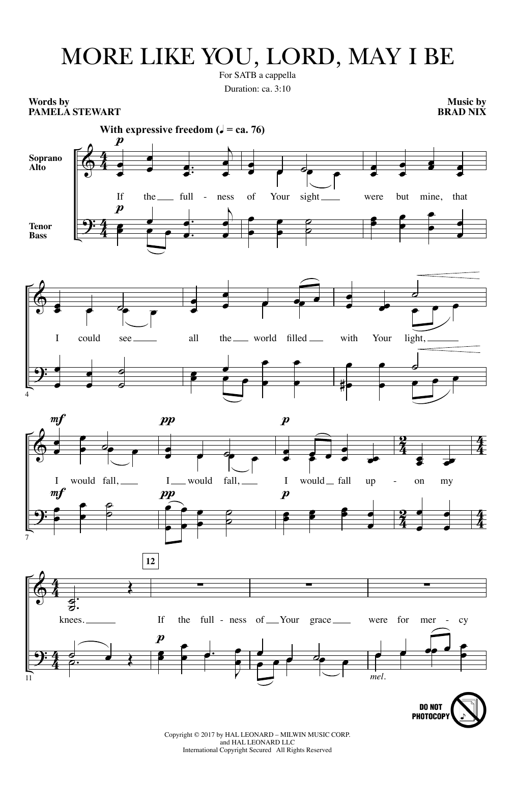Download Brad Nix 'More Like You, Lord, May I Be' Digital Sheet Music Notes & Chords and start playing in minutes