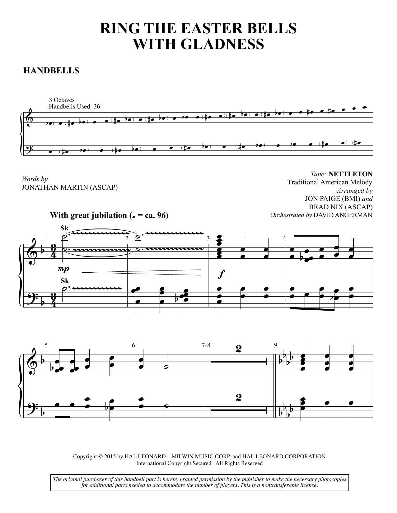 Brad Nix Ring the Easter Bells with Gladness - Handbells sheet music preview music notes and score for Choir Instrumental Pak including 5 page(s)