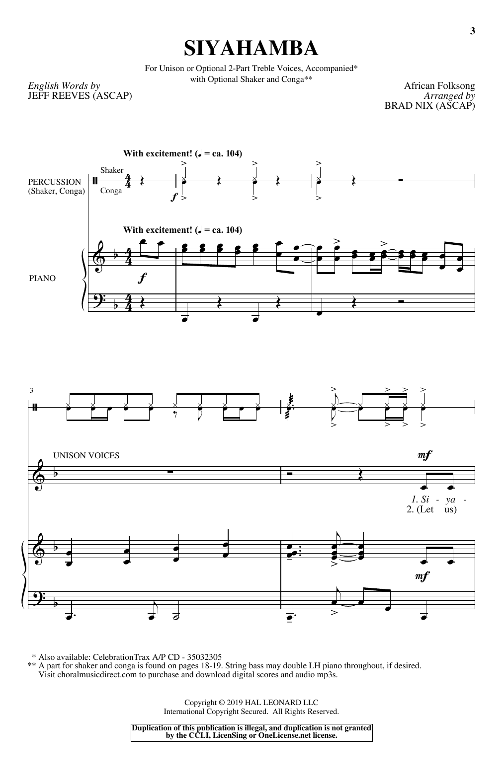 Download Brad Nix 'Siyahamba' Digital Sheet Music Notes & Chords and start playing in minutes