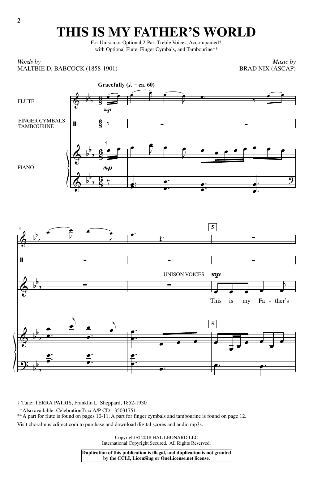 Download Brad Nix 'This Is My Father's World' Digital Sheet Music Notes & Chords and start playing in minutes