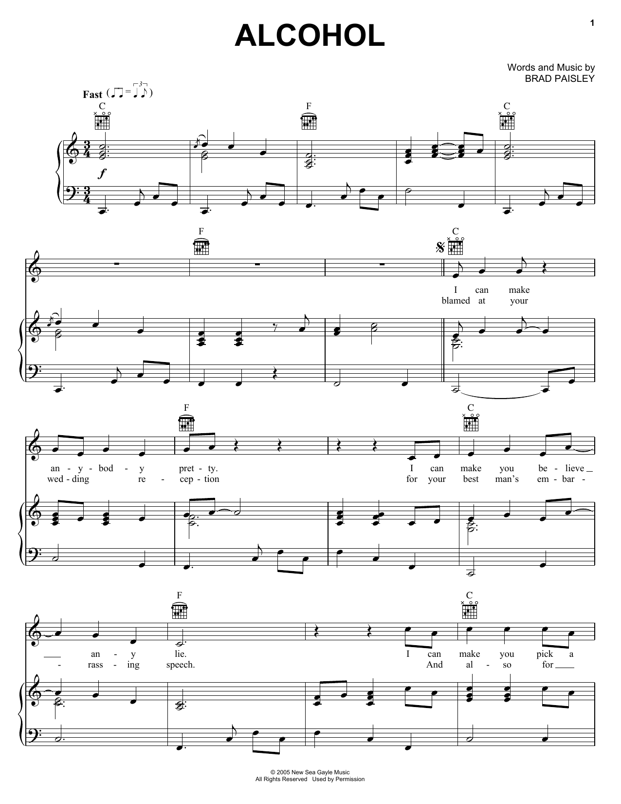 Brad Paisley Alcohol sheet music preview music notes and score for Guitar Tab including 16 page(s)