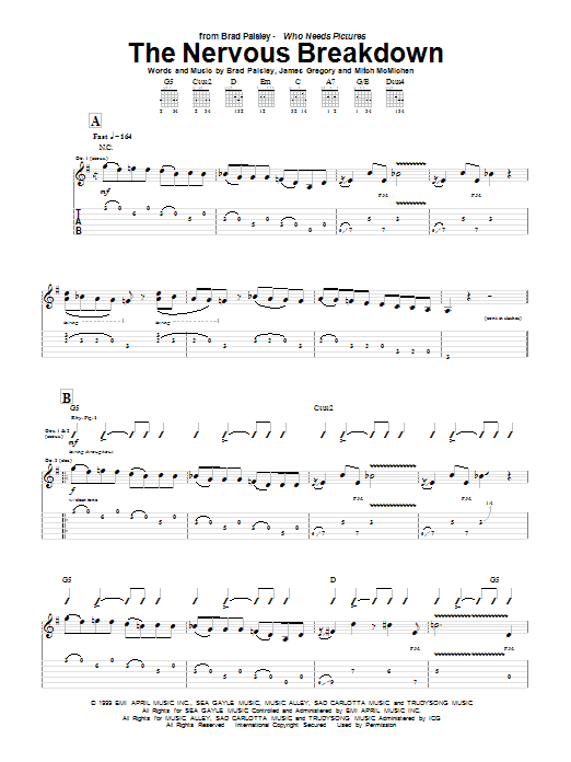 Brad Paisley The Nervous Breakdown sheet music preview music notes and score for Guitar Tab including 13 page(s)