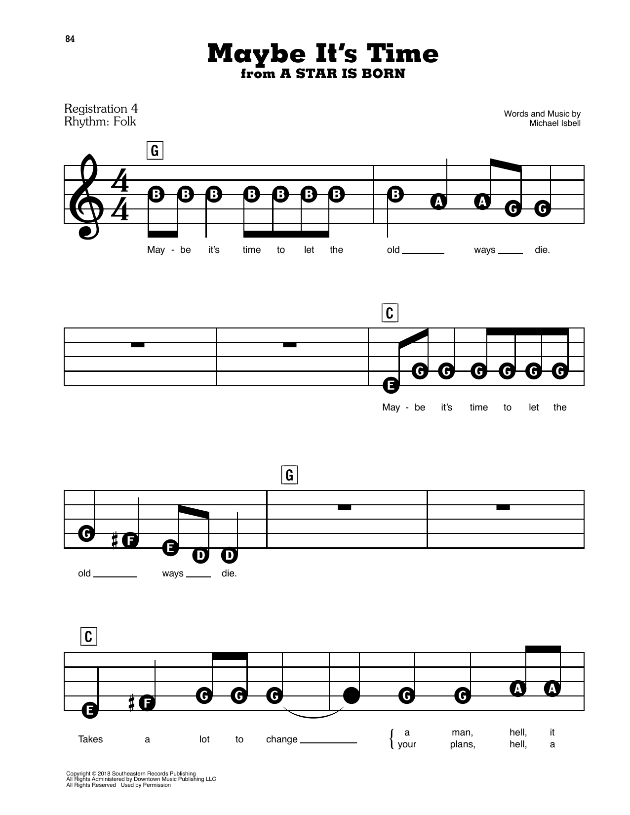 Bradley Cooper Maybe It's Time (from A Star Is Born) sheet music preview music notes and score for E-Z Play Today including 4 page(s)