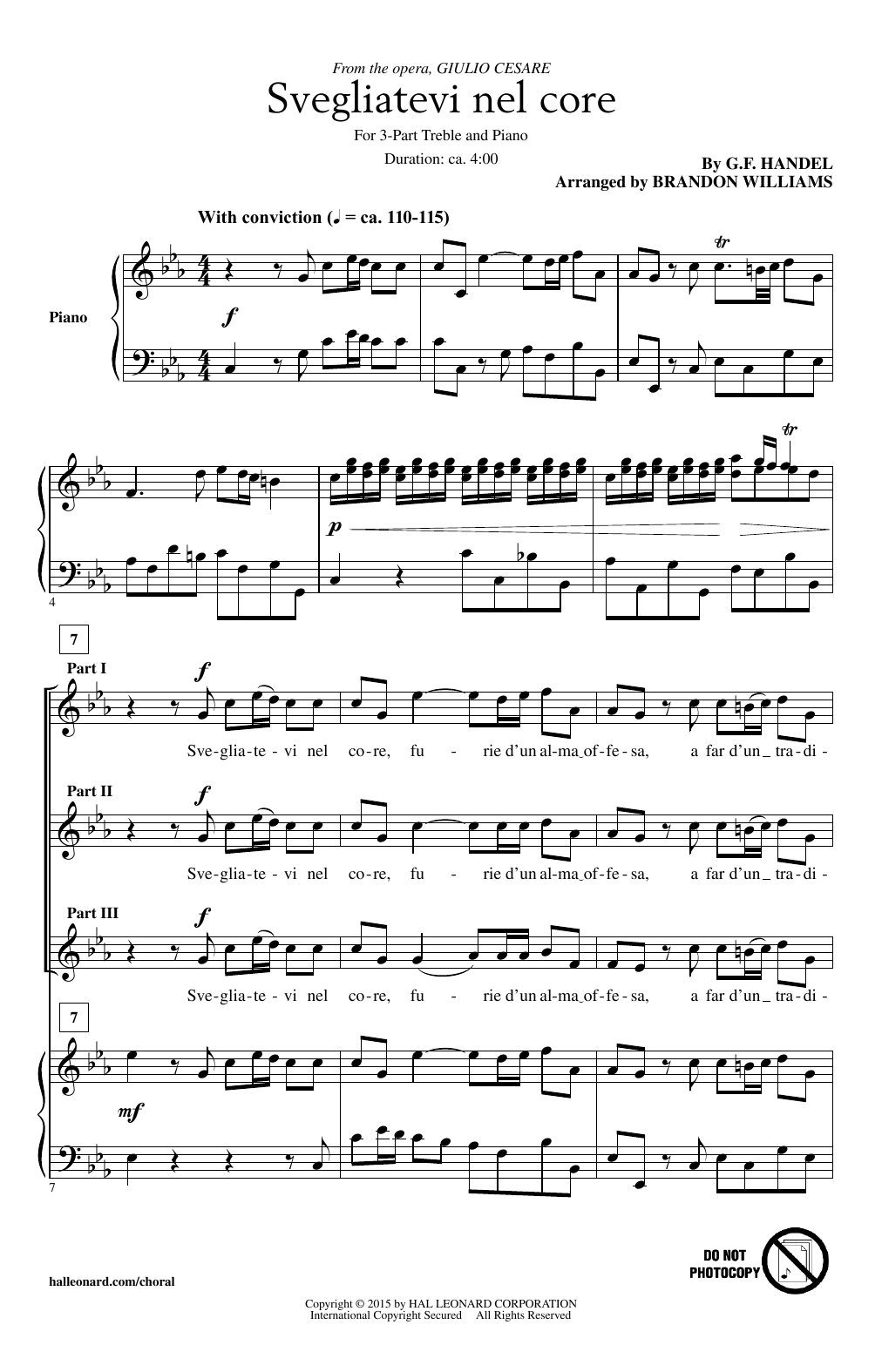 Download George Frideric Handel 'Svegliatevi Nel Core (arr. Brandon Williams)' Digital Sheet Music Notes & Chords and start playing in minutes