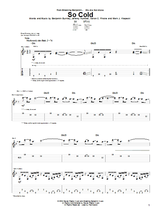 Breaking Benjamin So Cold sheet music notes and chords