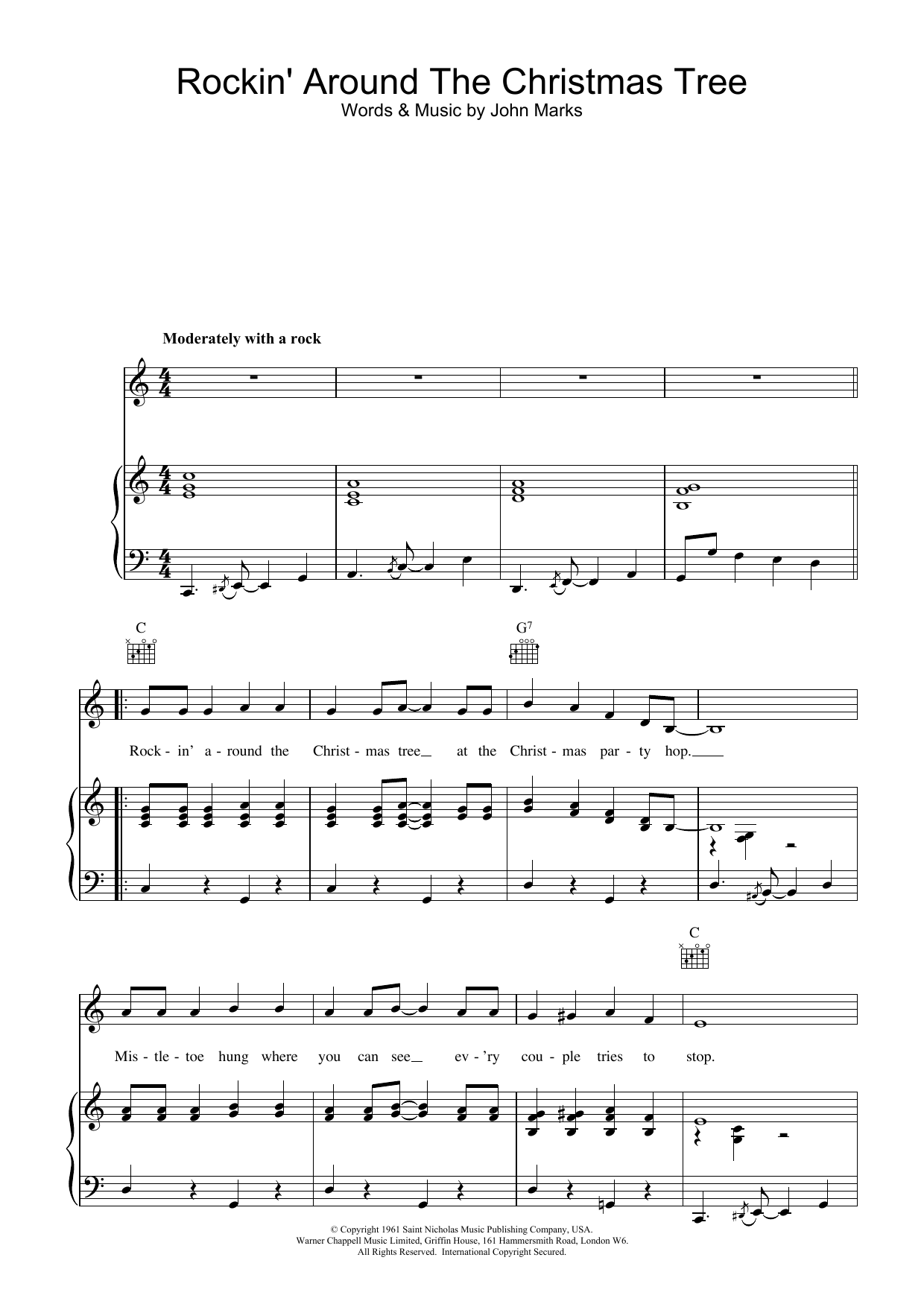 Brenda Lee Rockin' Around The Christmas Tree sheet music preview music notes and score for Guitar Tab including 2 page(s)