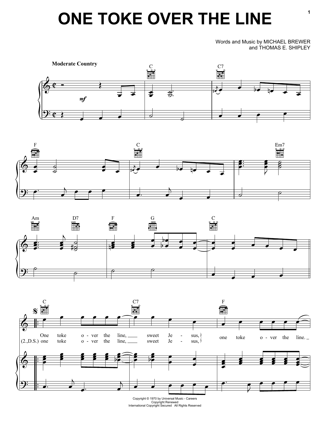 Brewer & Shipley One Toke Over The Line sheet music preview music notes and score for Piano, Vocal & Guitar (Right-Hand Melody) including 4 page(s)