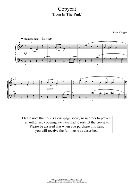 Download Brian Chapple 'Copycat (from In The Pink)' Digital Sheet Music Notes & Chords and start playing in minutes